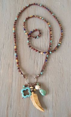 "Long Boho crochet necklace FeatherWeight OOAK by slashKnots- -Measures 28"" with a 3"" pendant drop. Slips on with no closure."