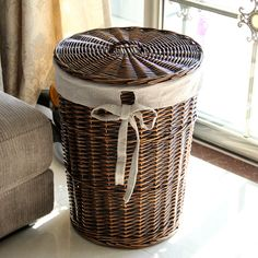 Home laundry basket rattan storage box Large laundry basket dirty clothes clothing storage basket storage basket Shabby Chic Porch, Shabby Chic Living Room, Shabby Chic Homes, Laundry Basket With Lid, Storage Baskets With Lids, Basket Storage, Rattan, Wicker Furniture, Home Decor Furniture