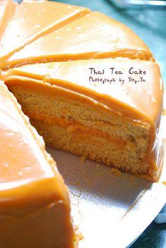 Thai tea cake (ah mah gad. Apple Tea Cake, Cinnamon Tea Cake, Lemon Tea Cake, Easy Cake Recipes, Sweet Recipes, Dessert Recipes, Thai Recipes, Tea Cakes, Cupcake Cakes