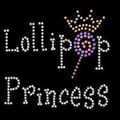 Lollipop princess rhinestone rhinestud stud transfer hot fix hotfix iron on applique bling patch. $8.99, via Etsy.