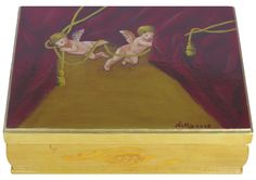 Cupids – Decorative wooden box with a mirror Hand painted. Available at www.romanticdecorativeart.co.uk