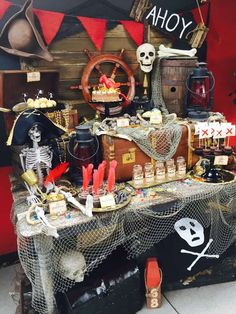 Dessert table at a pirate birthday party! See more party ideas at CatchMyParty. Deco Pirate, Pirate Day, Pirate Theme, Pirate Decor, Pirate Crafts, Pirate Halloween Party, Halloween Table, Pirate Party Decorations, Party Mottos