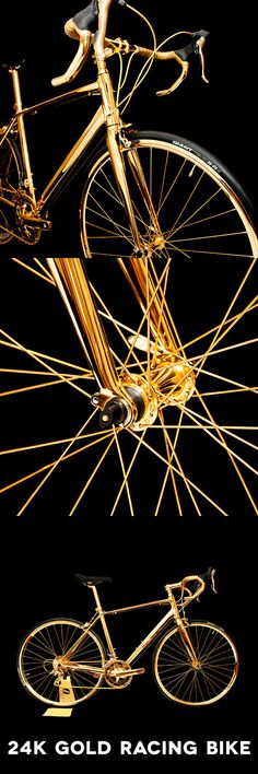 24k Gold Racing Bike Drop Bars not Bombs; a racing bike embellished with a lustrous layer of 24k gold.