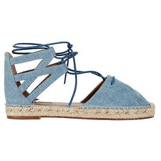 Aquazzura Belgravia Denim Espadrille ($475) ❤ liked on Polyvore featuring shoes, sandals, lace up espadrilles, flat espadrilles, denim espadrilles, lace up shoes and laced up flat sandals
