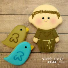 Francis of Assisi . Francis Of Assisi, St Francis, Baptism Cookies, Sister Bay, Edible Art, Cute Food, Cookie Jars, Cookie Decorating, Sugar Cookies