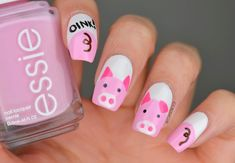 Year of the Pig Nails Pig Nail Art, Pig Nails, Fancy Nails, Pretty Nails, Coffin Nails, Acrylic Nails, Red Manicure, Nail Forms, Clear Nails