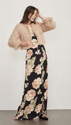 A sassy maxi and a (faux) fur.  The Chicest.