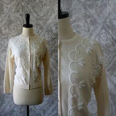 1950s Beaded Sweater Cardigan =====>$40.00