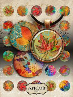 30 mm círculos las hojas de otoño para imprimir imágenes