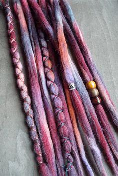 Removable Wool Tie-dye dreads by Purple Finch! 10 Grapefruit Tie-Dye Wool Synthetic Dreadlock Extensions Boho Dreads Hair Wraps & Beads Custom