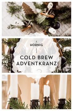 Nina von Bodyholic hat pünktlich zum ersten Advent unsere Cold-Brew-Flaschen in einen Adventkranz verwandelt.    Die Anleitung für dieses coole Upcycling-Projekt findest du in diesem Beitrag.  #coffee #upcycling #christmas #advent #adventkranz