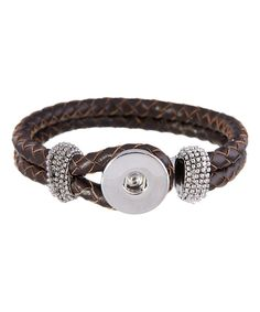 Look at this Brown Leather Braided Bracelet on #zulily today!
