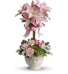 Teleflora's Blushing Lilies in Baltimore MD, Drayer's Florist Baltimore