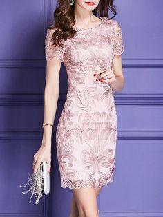 Pink Date Elegant Short Sleeve Plain Party Sheath Midi Dress Date Dresses, Short Sleeve Dresses, Formal Dresses, Bride Dresses, Dress Brokat, Pink Midi Dress, Plain Dress, Lace Sheath Dress, Wedding Dress Styles