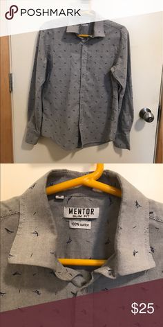 Men's bird print button down Men's m but runs slightly small. Beautiful quality and no signs of wear. Purchased in Israel and not used. Could be cute and oversized for a s/m woman as well. Mentor Shirts Casual Button Down Shirts