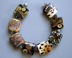 African Sunrise. Set of lampwork beads.