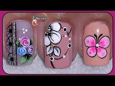 3 Diseños para uñas cortas, modelos de decoración para uñas variados, uñas cortas decoradas - YouTube Flower Nail Designs, Nail Art Designs, J Nails, Colorful Nail Art, Flower Nails, Pretty Nails, Pedicure, Nail Polish, Lily