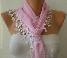 Pink Scarf with White Lace Edge
