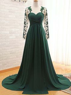 Cheap evening gown, Buy Quality vestidos de fiesta directly from China evening dress lace Suppliers: 2017 A-Line Long Sleeve Chiffon Pleat Sweetheart Evening Dress Lace Appliques Court Train Evening Gowns vestidos de fiesta Green Evening Gowns, Prom Dresses Long With Sleeves, Cheap Prom Dresses, Bridesmaid Dresses, Wedding Dresses, Evening Party, Bride Dresses, Prom Gowns, Dresses 2016