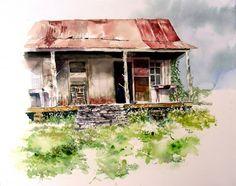 Cabin watercolor by David Tripp, great look.
