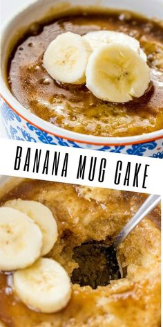 Simple easy and delicious this Banana Mug Cake is the perfect single serving dessert to perk you up when your sweet tooth is calling! Mug Recipes, Banana Recipes, Sweet Recipes, Cake Recipes, Dessert Recipes, Cooking Recipes, Healthy Desserts, Easy Desserts, Delicious Desserts