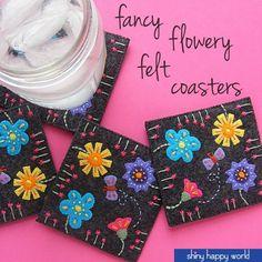 Fancy Flowery Felt Coasters - a free pattern from Shiny Happy World