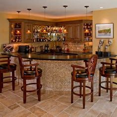 Basement Bar Designs With Wooden Chair