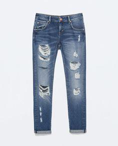 MEDIUM WASH RIPPED BOYFRIEND JEANS-Damaged-Jeans-WOMAN | ZARA United States