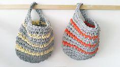 Cesta de Crochet tejida a mano por KuklasHandmade en Etsy