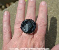 Black Tourmaline Adjustable Statement Ring by SapphireMoonbeam, $43.00