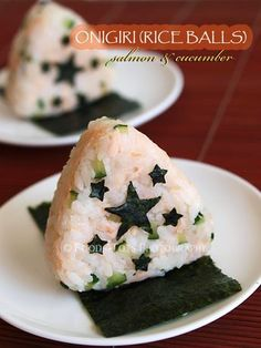 "Salmon and Cucumber Onigiri - This is from a site for recipes that are child friendly.  However, as I'm pretty partial to these ""6-star onigiri,"" they work for us oldsters who are kids at heart too.  ;-)"