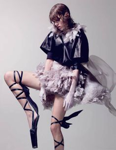 'Tough Ballerina' in Interview Magazine features model Freja Beha Erichsen, who is photographed by Craig McDean in devilishly high ballet slippers and fashions from Ann Demeulemeester, Alexander Wang and Roberto Cavalli.
