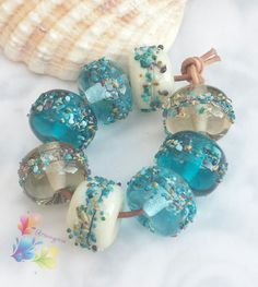Lampwork Beads Beachcomber by GlitteringprizeGlass on Etsy