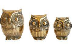 Brass Owls, Set of 3