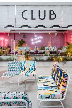 POW ideas captures retro neon style for the swimming club in kuala lumpur Deco Design, Cafe Design, Restaurant Design, Restaurant Bar, Cafe Interior, Interior Design, My Cinema Lightbox, Beach Bars, Retro Furniture