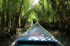 Makassar, Rammang-Rammang, auf dem Sungai Pute
