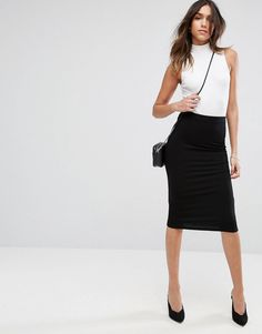 Browse online for the newest ASOS DESIGN jersey pencil skirt styles. Shop easier with ASOS' multiple payments and return options (Ts&Cs apply). Pencil Skirt Work, Pencil Skirt Outfits, High Waisted Pencil Skirt, Pencil Skirt Black, Pencil Skirts, Midi Skirts, Waist Skirt, Work Fashion, Skirt Fashion