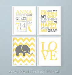 birth stats nursery decor with elephant love baby quote, nursery birth announcement, personalized baby stats, baby name art, new baby gift by PinkeeArt, $29.00