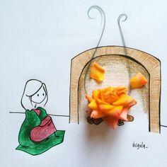 Una rosa arancione è un fuoco acceso nel camino VIRGOLA by Virginia Di Giorgio
