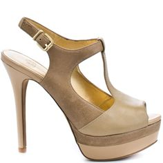 Spring into your inner confidence with these beautifully bold stilettos from Jessica Simpson. Elso brings you a leather and suede upper with a multi color of three different shades of taupe. A double stacked 1 inch platform and 5 inch patent heel complete this fearless t-strap.