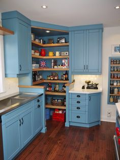 Cool Corner Pantry trend Toronto Farmhouse Kitchen Decorators with bar sink dark wood flooring English country handscraped floor open pantry open shelving recessed