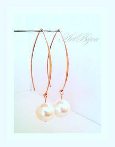 Small Earrings – Pearl Earrings, Rose Gold Earrings, Dangle Earring – a unique product by ArtBijou on DaWanda