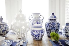 Beautiful display of Ginger Jars on the dining room table!