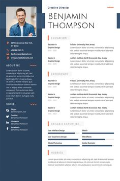 Benjamin Thompson Multipurpose Elegant Resume Template ---CLICK IMAGE FOR MORE--- resume how to write a resume resume tips resume examples for student