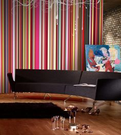 Rainbow Stripes - Mr Perswall Murals - A rainbow of vivid coloured vertical stripes in different widths – a rich barcode effect overlaid with a white ribbon motif. Total mural size wide and Unique Wallpaper, Wallpaper Decor, Photo Wallpaper, Wallpaper Online, Scandinavian Wallpaper, Striped Walls, Striped Wallpaper, Wall Murals, Wall Art