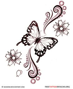 Butterfly Tattoo Designs | Butterfly and flowers tattoo design | How Do It