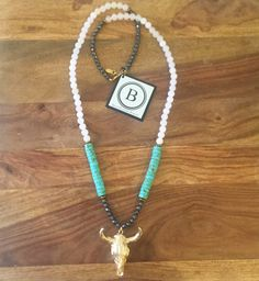 Turquoise Beaded Steerhead Necklace - Longhorn Fashions