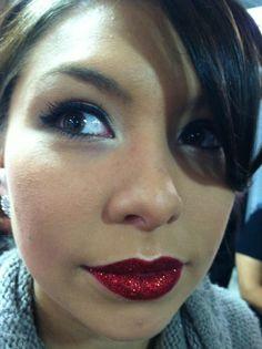 Stunning glitter lips using eye candy cherry bomb glitter