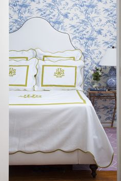 Jane Lilly Warren's bedroom (Matchbook Magazine; Monogrammed bedding: Leontine Linens; Bed: Serena & Lily's Pondicherry Headboard; Wallpaper: Sherwin Williams; Photography by Courtney Apple)