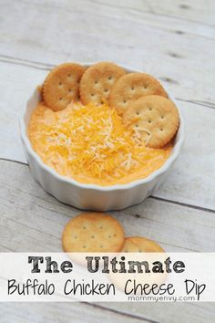 The Ultimate Buffalo Chicken Cheese Dip. Perfect party appetizer recipe for football season! www.mommyenvy.com